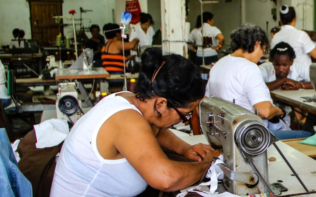 Women working at a fashion factory