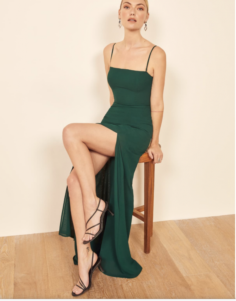 Green ethical dress from Reformation