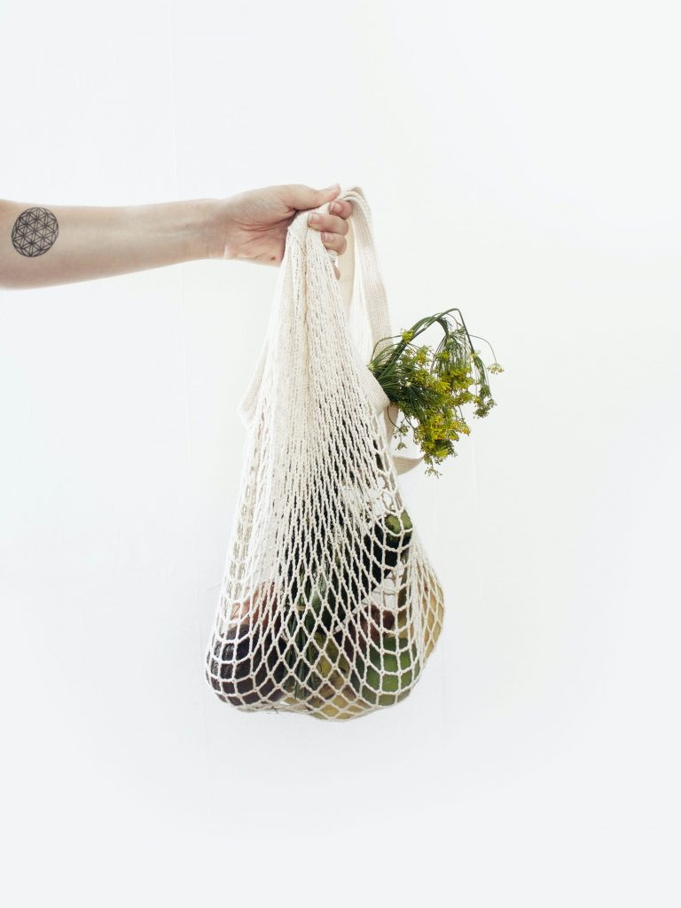 white tote bag with vegetables