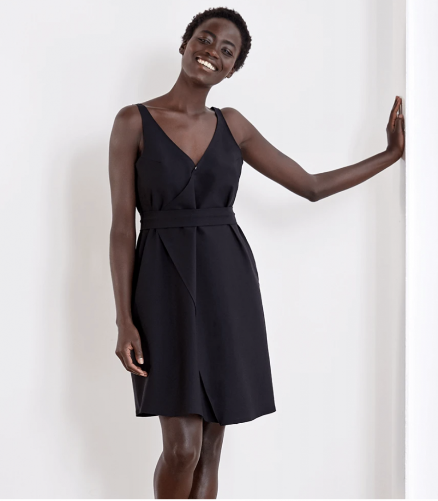 black dress from minimalist clothing brand Aday