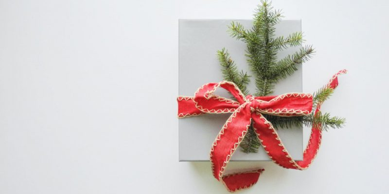 A sustainability gift for Christmas wrapped with a red bow