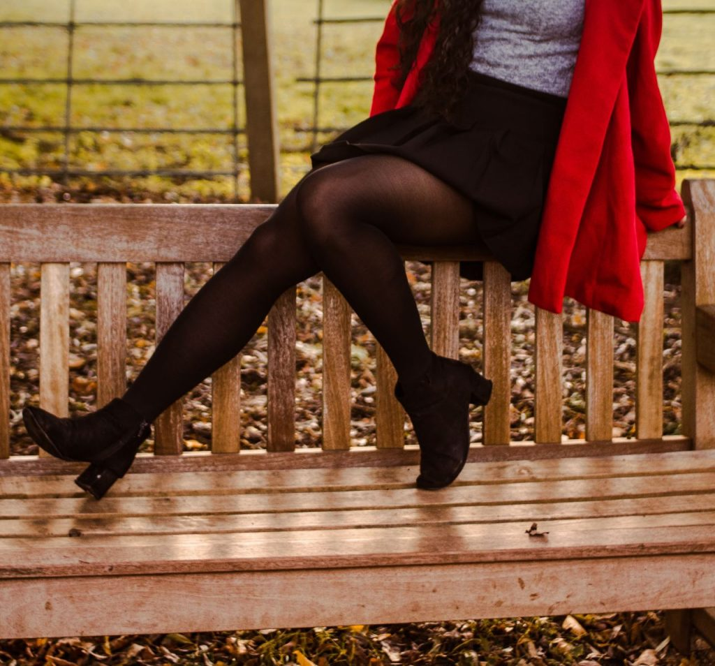 girl in black tights made from nylon that might be eco-friendly