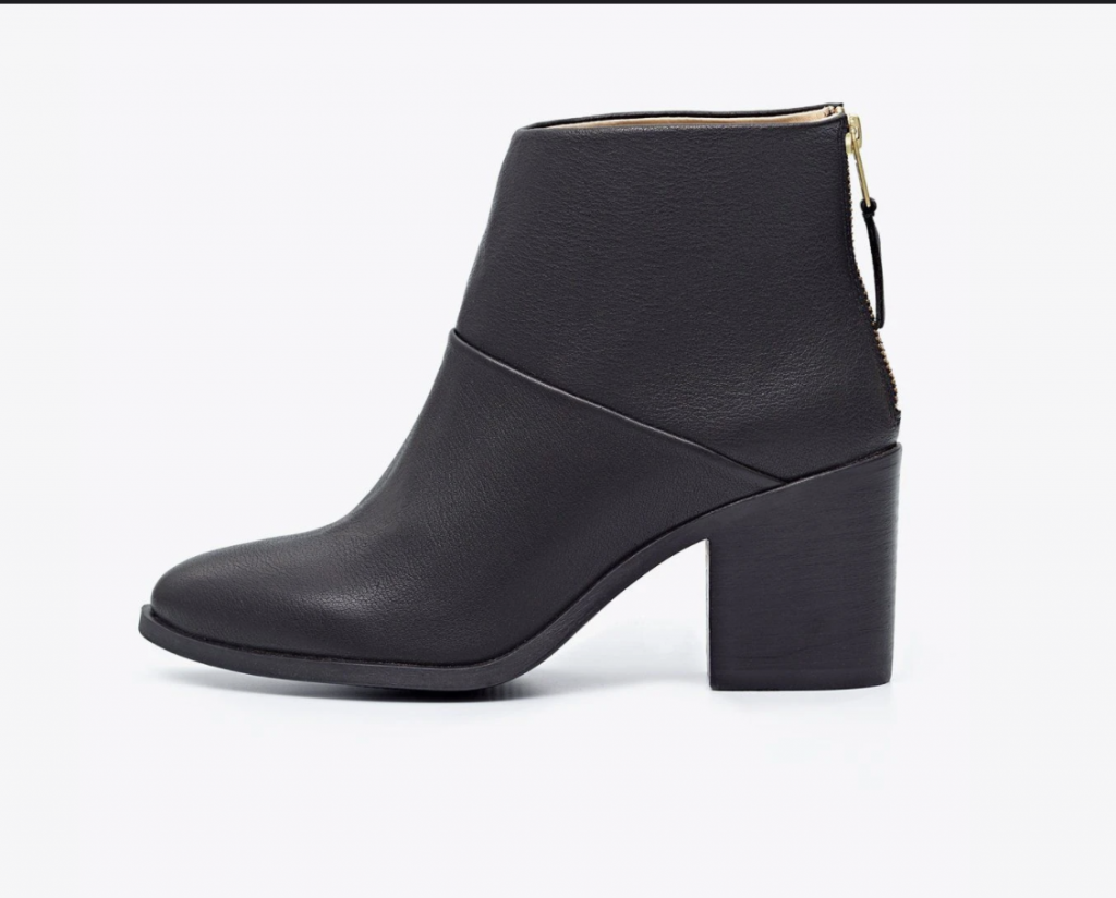 Black high-heeled sustainable boots