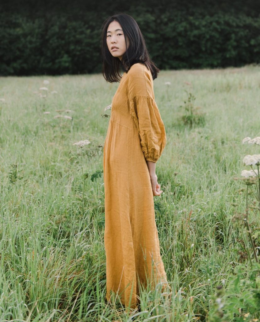 Brown sustainable linen dress