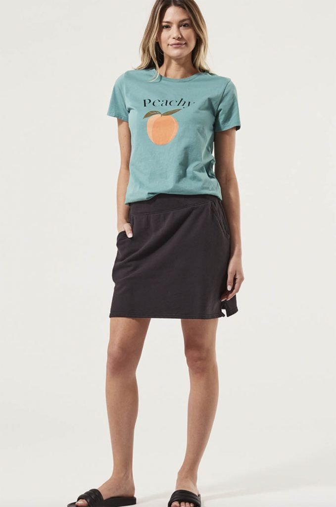 t-shirt and skirt from affordable sustainable brands