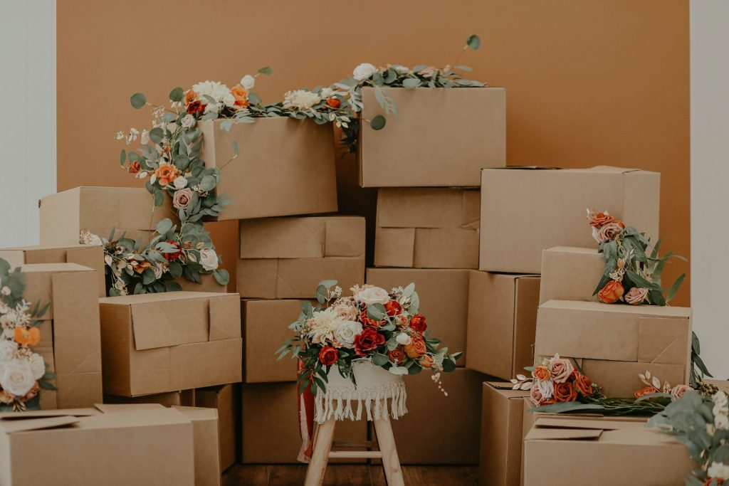 clothing packages decorated with flowers