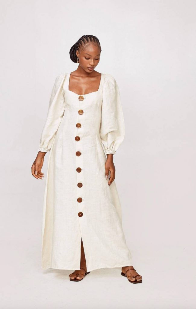 white sustainable maxi dress mie